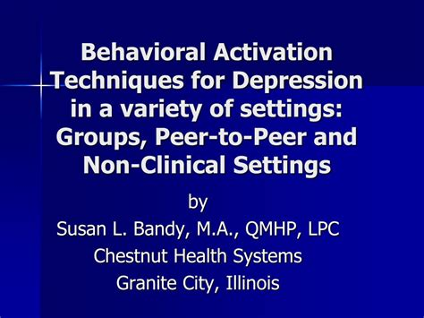 ppt behavioral activation techniques for depression in a