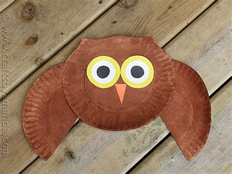 paper plate owl craft crafts  amanda
