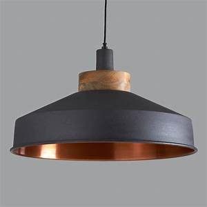 Large copper pendant lighting : Cosmos graphite and copper pendant light by horsfall