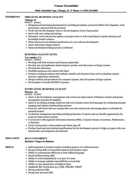 Junior Business Analyst Resume by Business Analyst Level Resume Sles Velvet