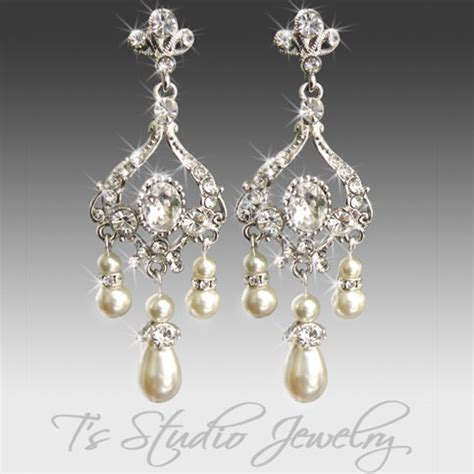 pearl bridal chandelier earrings and rhinestone