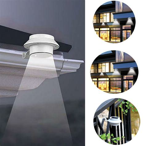 solar power outdoor garden light gutter fence led wall
