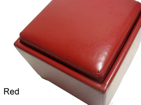 contemporary storage ottoman  tray red