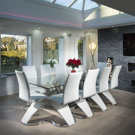 modern large 10 seater glass stainless steel dining table