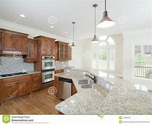 Model Luxury Home Interior Kitchen Arch Windows Stock ...
