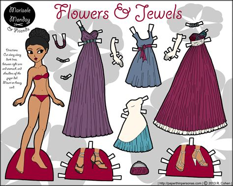 flowers  jewels  printable paper doll  full color