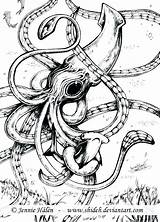 Squid Coloring Giant Kraken Pages Drawing Tattoo Marine Cuttlefish Octopus Sea Corps Pulpos Squids Calamar Colossal Colouring Gigante Whale Dibujo sketch template
