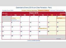 Calendario Enero 2019 para imprimir Perú