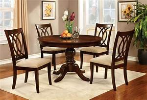 Jawdat, Brown, Cherry, Round, Dining, Table, Set