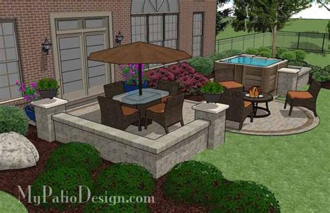 Patios With Tubs by Tub Patio Design With Seat Walls Plan