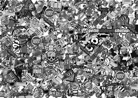 sticker bomb tekbit cola me preto e branco