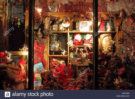 festive goods for sale in a vintage style shop window
