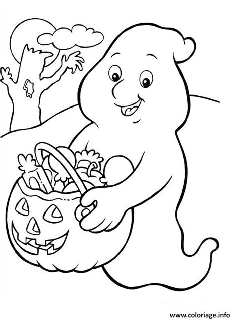 coloriage fantome donne des bonbons dessin