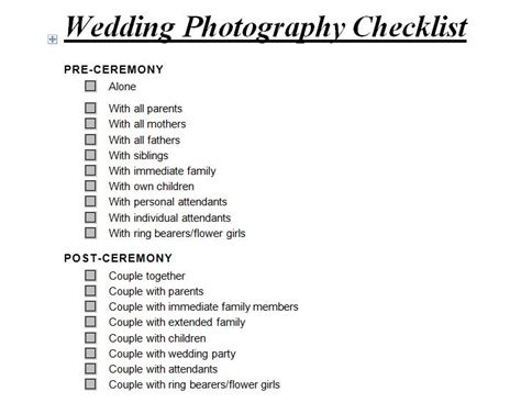 wedding photography checklist wedding photography