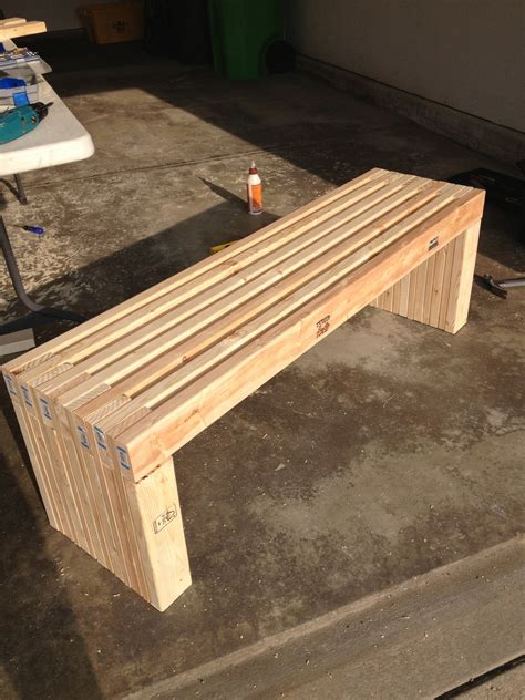 Diy Patio Bench Plans by White Modern Slat Top Outdoor Wood Bench Diy Projects