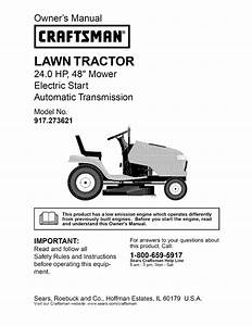 Craftsman 917273621 User Manual Lawn Tractor Manuals And