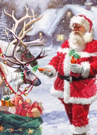 santa feeding reindeer fine art print   macneil