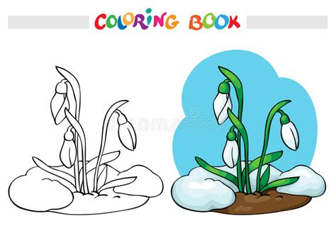 Coloring Book. Snow Melts, Grow The First Spring Flowers