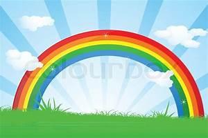 Illustration der bunten Regenbogen schöne Landschaft ...