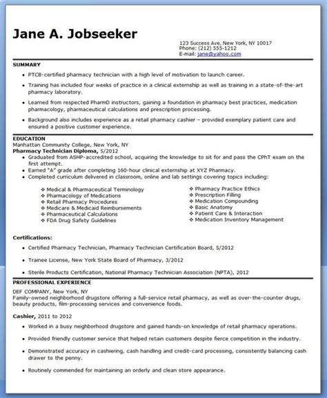 pharmacy technician resume sle no experience resume exles professional pharmacy