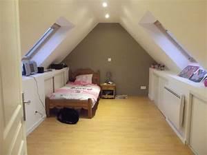 chambre amenagement sous pente inspirations avec salle de With salle de bain dans chambre sous comble