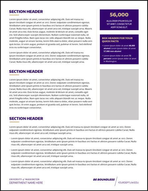 Fact Sheet Template Fact Sheet Uw Brand