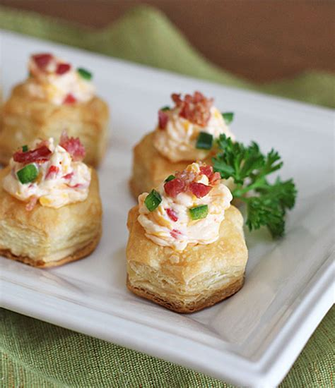 mini canape ideas bacon pimento cheese puff pastry cups