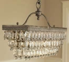 Pottery Barn Crystal Table Lamps by Clarissa Glass Drop Rectangular Chandelier By Pottery Barn