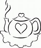 Coloring Teapot Pages Tea Drink Colouring Teacup Sets Printable Parties Pots Sheets Clip Valentine Simple Birthday Template Popular Clipart Cliparts sketch template