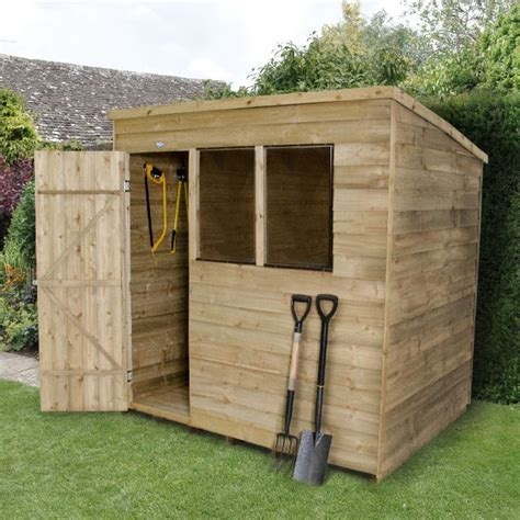 Forest Overlap Pent Garden Shed Pressure Treated 6x8