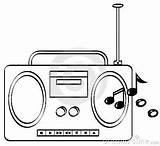 Radio Clipart Coloring Sketch Drawing Playing Drawings Sketchite Musical Radios sketch template