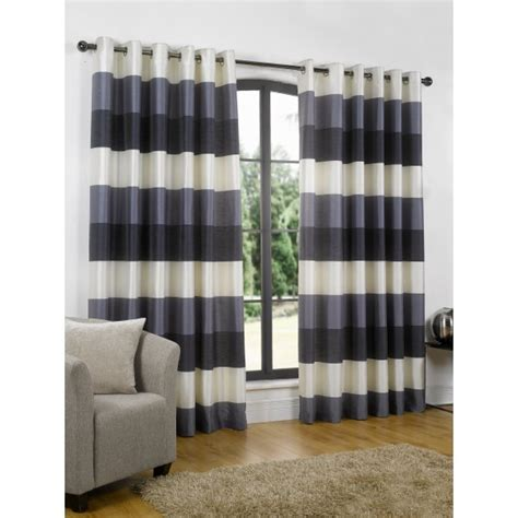 Navy And White Striped Curtains Uk by Living Navy Stripe Eyelet Readymade Curtain