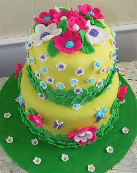 fondant flower cake  birthday cake  flowers