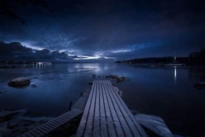 Dock Night Sky Wooden Under Brown During