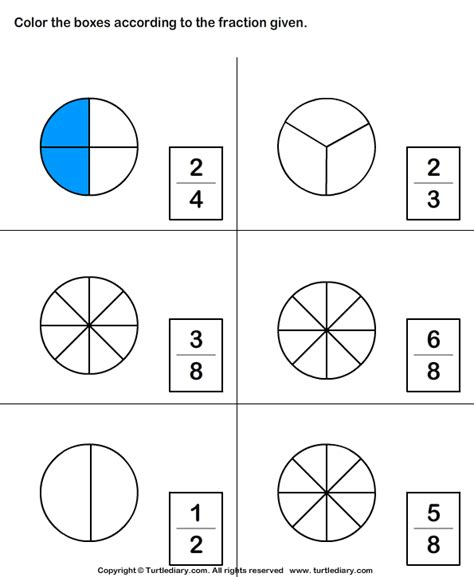 color figure to represent fraction worksheet turtle diary