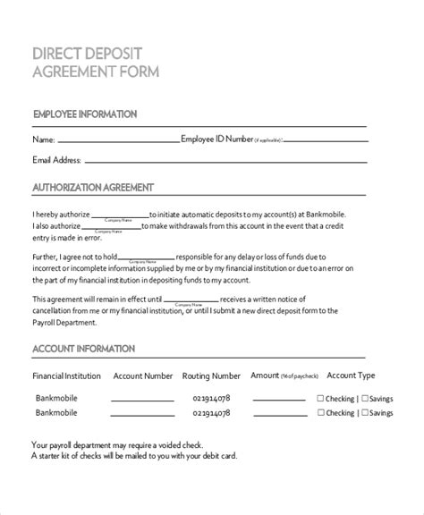 sample deposit agreement forms