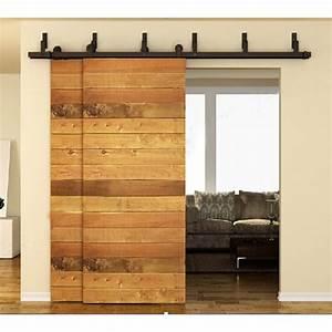 winsoon 5 16ft bypass sliding barn door hardware double With bi pass sliding door hardware