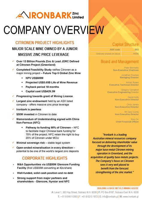 Company Overview - IRONBARK ZincIRONBARK