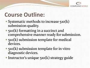 webinar or online training on a comprehensive overview of With 510k template