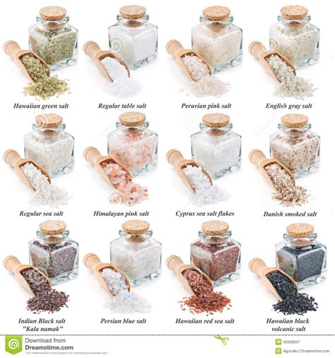 different types of salt ls collection of different types of salt isolated on stock