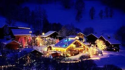 Christmas Snow Scene Cabin Winter Log Wallpapers