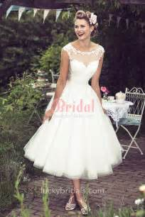 tea length bridesmaid dresses tea length illusion cap sleeves lace tulle rustic a line wedding dress luckybridals