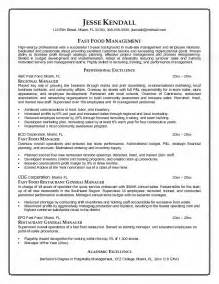 food sales manager resume fast food manager resume