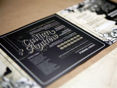 caitlan andrews black heavy metal wedding invitations