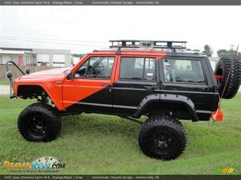 jeep cherokee orange 1992 jeep cherokee sport 4x4 orange black gray photo 2