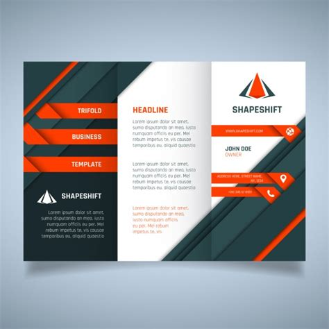 Free Orange Business Tri Fold Brochure Template Psd Titanui Orange And Black Geometric Business Brochure Template