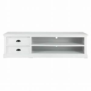 Meuble Tv 160 Cm : meuble tv en pin blanc l 160 cm newport maisons du monde ~ Teatrodelosmanantiales.com Idées de Décoration