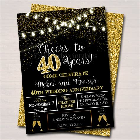40th Party Invitation Birthday Printable Cheers to Forty