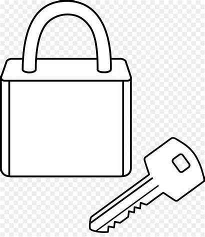 Lock Clipart Key Coloring Line Drawing Pages