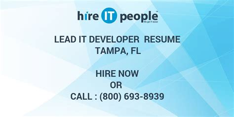 lead  developer resume tampa fl hire  people
